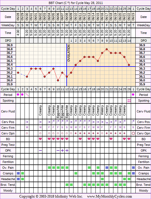 Fertility Chart for cycle May 28, 2011, chart owner tags: Other Meds