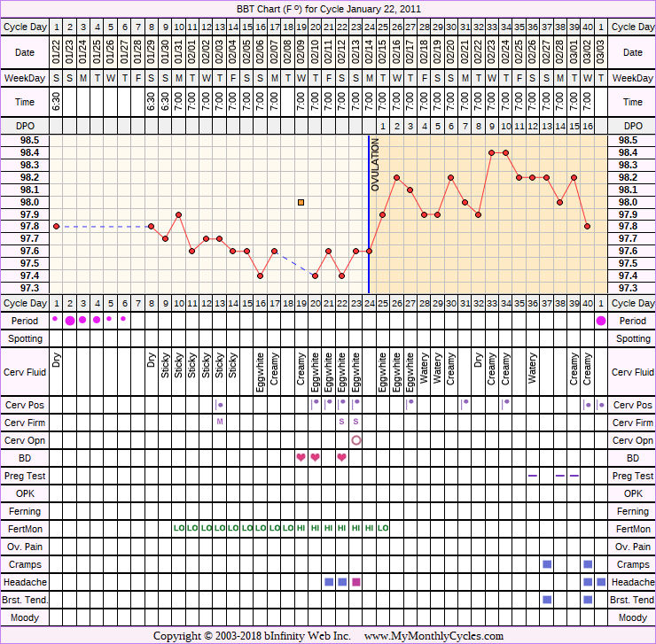 Fertility Chart for cycle Jan 22, 2011, chart owner tags: Fertility Monitor, Over Weight