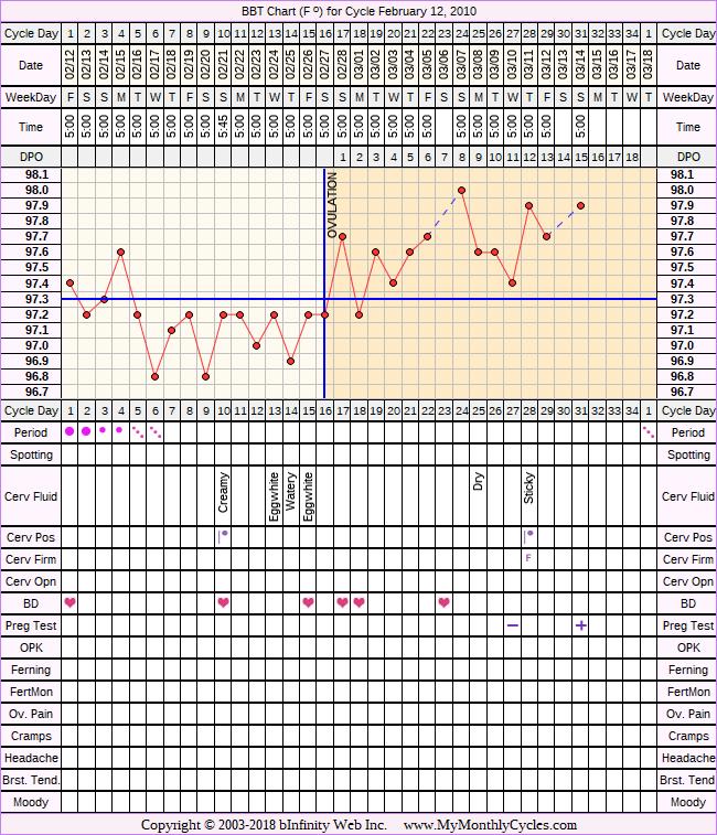Fertility Chart for cycle Feb 12, 2010