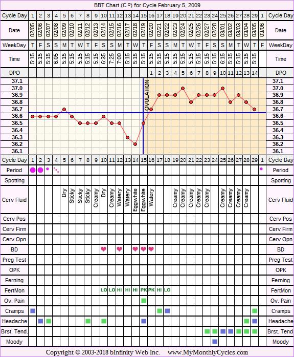 Fertility Chart for cycle Feb 5, 2009, chart owner tags: Clomid, Endometriosis, Fertility Monitor