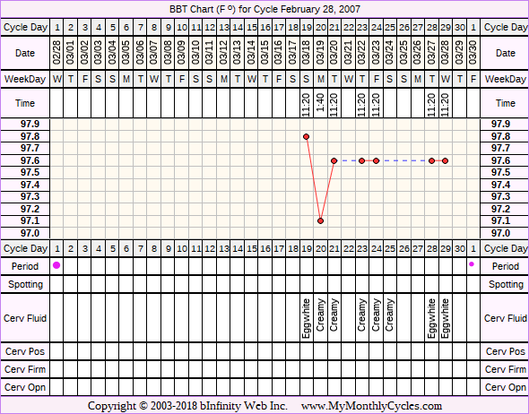 Fertility Chart for cycle Feb 28, 2007, chart owner tags: BFN (Not Pregnant), BFP (Pregnant), Biphasic, Endometriosis, Fertility Monitor, Infection