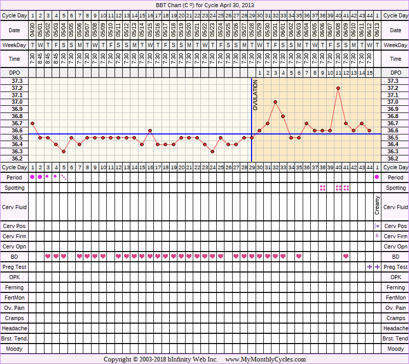 Fertility Chart for cycle Apr 30, 2013, chart owner tags: BFN (Not Pregnant), BFP (Pregnant), Miscarriage