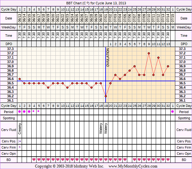 Fertility Chart for cycle Jun 13, 2013, chart owner tags: BFN (Not Pregnant)