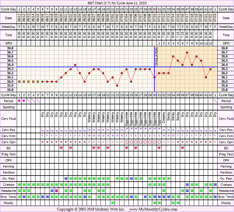 Fertility Chart for cycle Jun 11, 2010, chart owner tags: Biphasic, Fertility Monitor, Over Weight