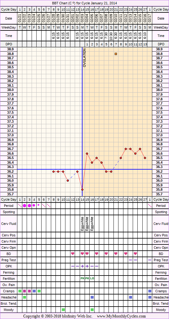 BBT Chart for cycle Jan 21, 2014