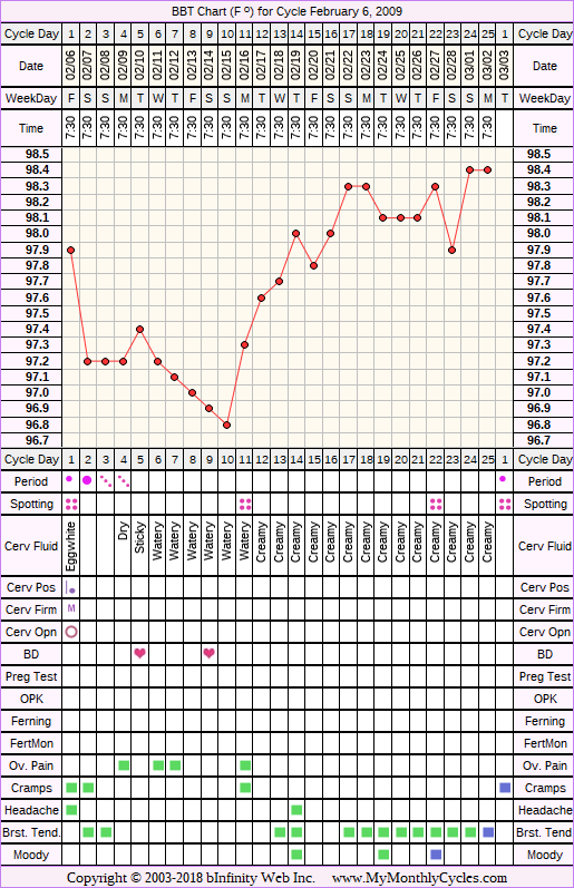 Fertility Chart for cycle Feb 6, 2009, chart owner tags: BFN (Not Pregnant)