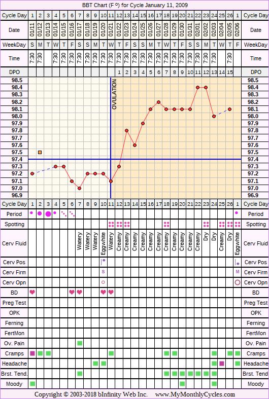 Fertility Chart for cycle Jan 11, 2009, chart owner tags: BFN (Not Pregnant), Biphasic, Triphasic