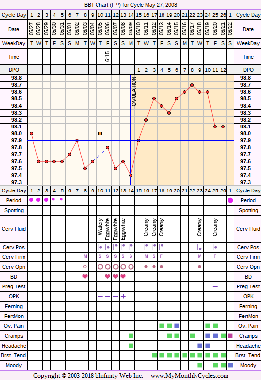 Fertility Chart for cycle May 27, 2008, chart owner tags: BFN (Not Pregnant), Ovulation Prediction Kits