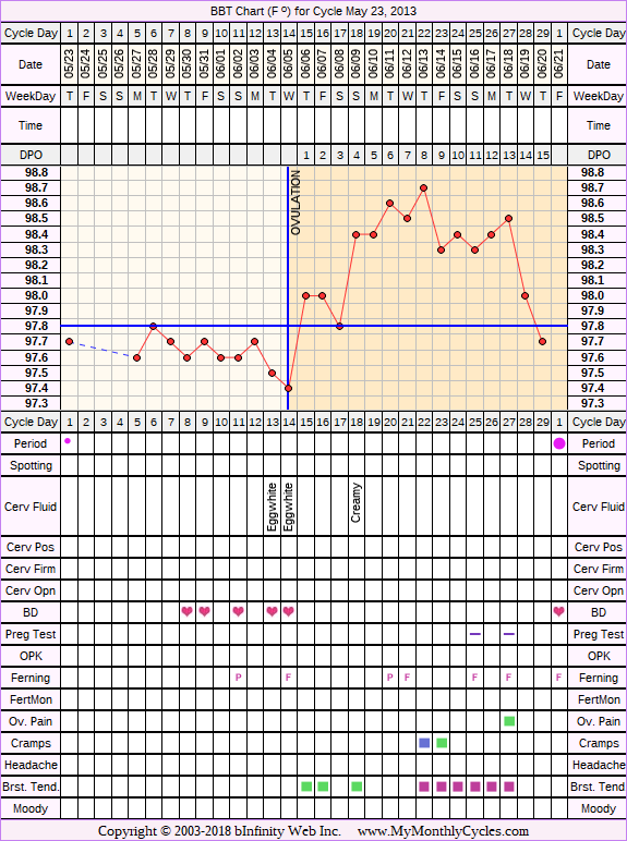 Fertility Chart for cycle May 23, 2013, chart owner tags: BFN (Not Pregnant), Herbal Fertility Supplement