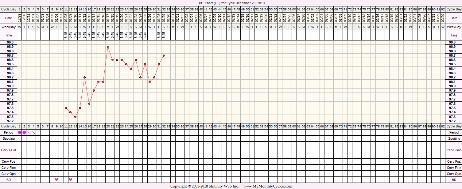 Fertility Chart for cycle Dec 29, 2010