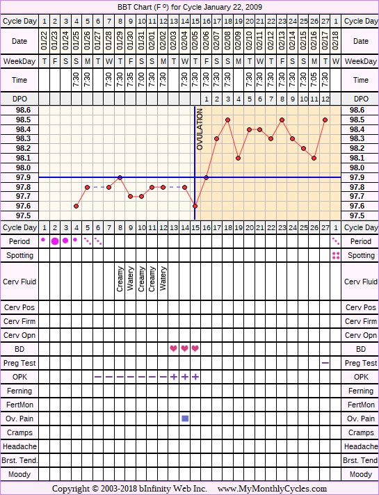 Fertility Chart for cycle Jan 22, 2009, chart owner tags: Fertility Monitor, Ovulation Prediction Kits, Over Weight