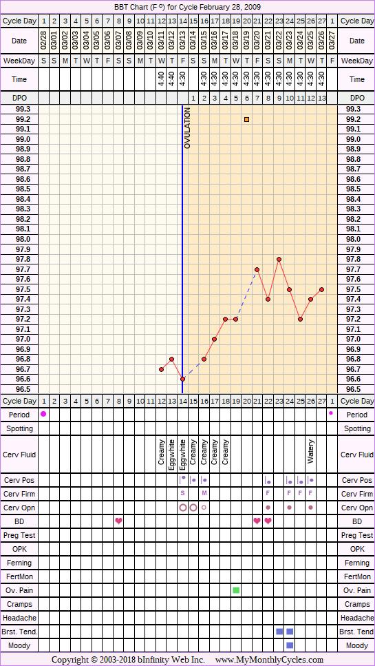 Fertility Chart for cycle Feb 28, 2009