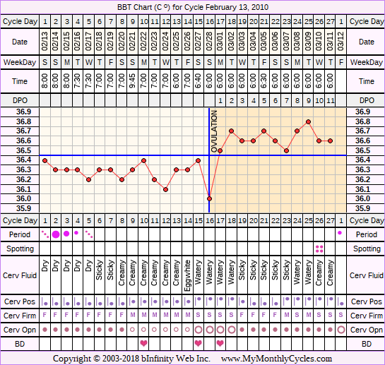 BBT Chart for cycle Feb 13, 2010