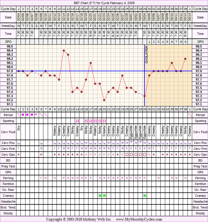 Fertility Chart for cycle Feb 4, 2009, chart owner tags: BFN (Not Pregnant)