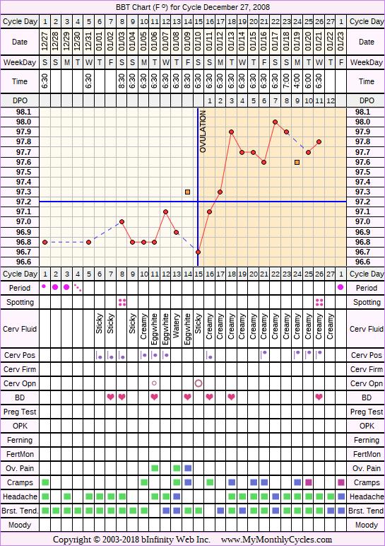 Fertility Chart for cycle Dec 27, 2008