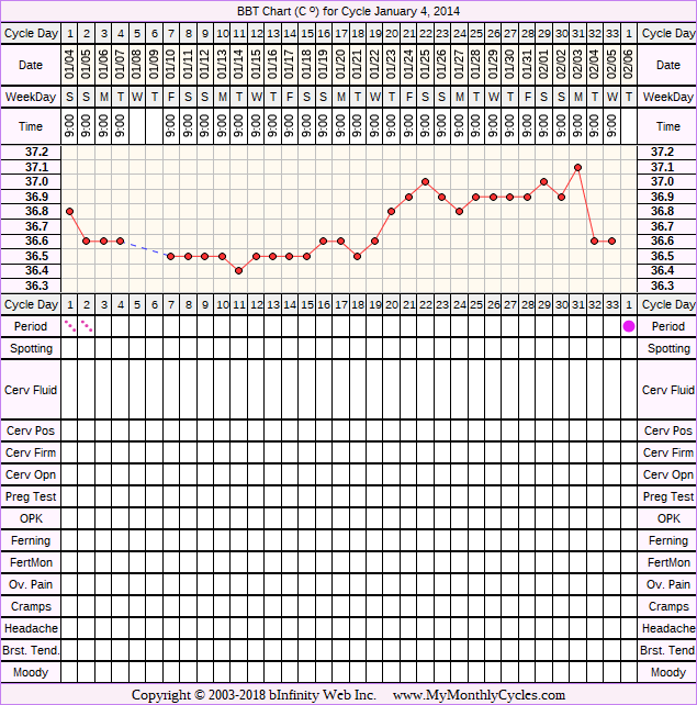 Fertility Chart for cycle Jan 4, 2014