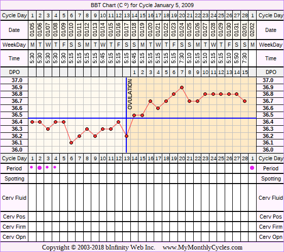 Fertility Chart for cycle Jan 5, 2009, chart owner tags: After the Pill