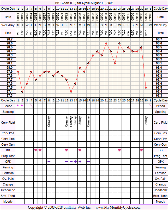 Fertility Chart for cycle Aug 11, 2008