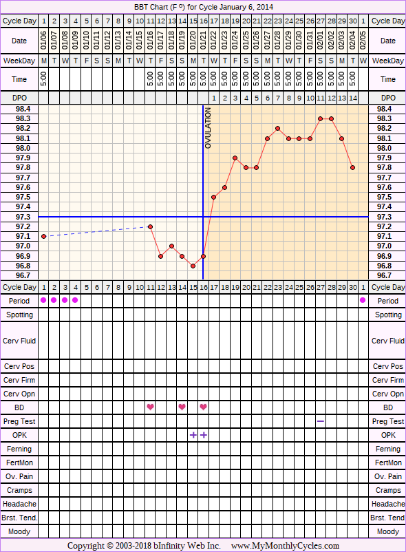 Fertility Chart for cycle Jan 6, 2014, chart owner tags: BFN (Not Pregnant), BFP (Pregnant), Fertility Monitor, Herbal Fertility Supplement, Ovulation Prediction Kits