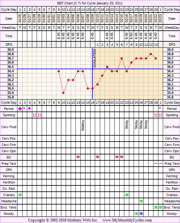 Fertility Chart for cycle Jan 25, 2011, chart owner tags: BFN (Not Pregnant)