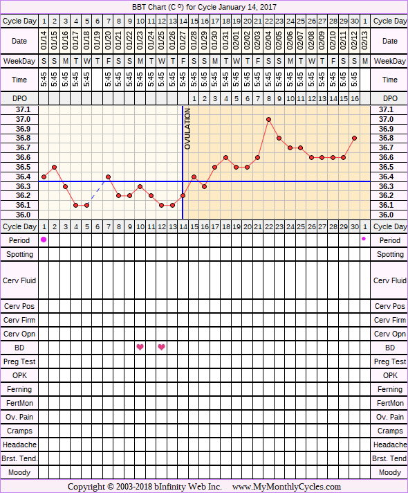 Fertility Chart for cycle Jan 14, 2017, chart owner tags: BFN (Not Pregnant), Long Luteal Phase