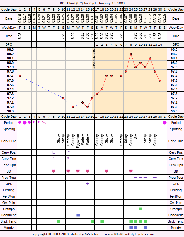 Fertility Chart for cycle Jan 16, 2009, chart owner tags: BFN (Not Pregnant), Endometriosis
