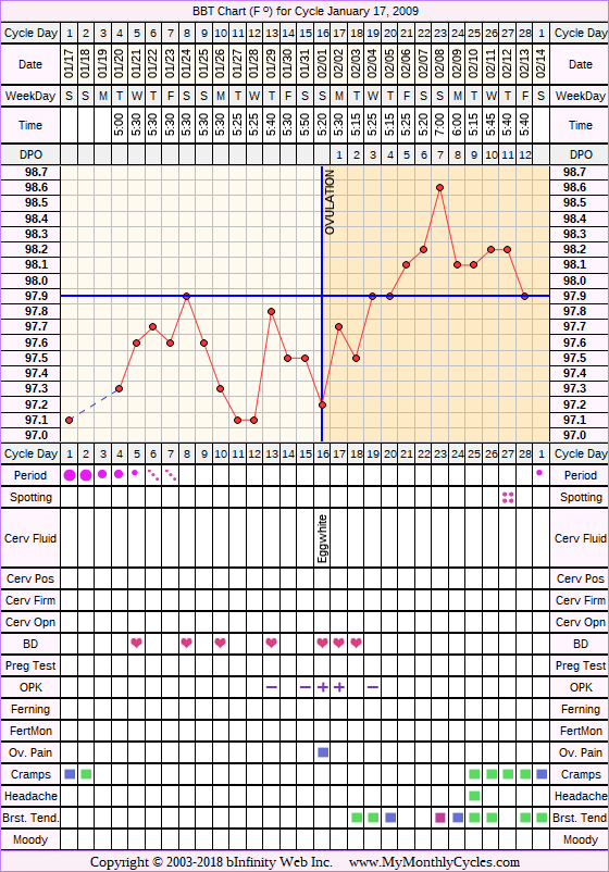 Fertility Chart for cycle Jan 17, 2009