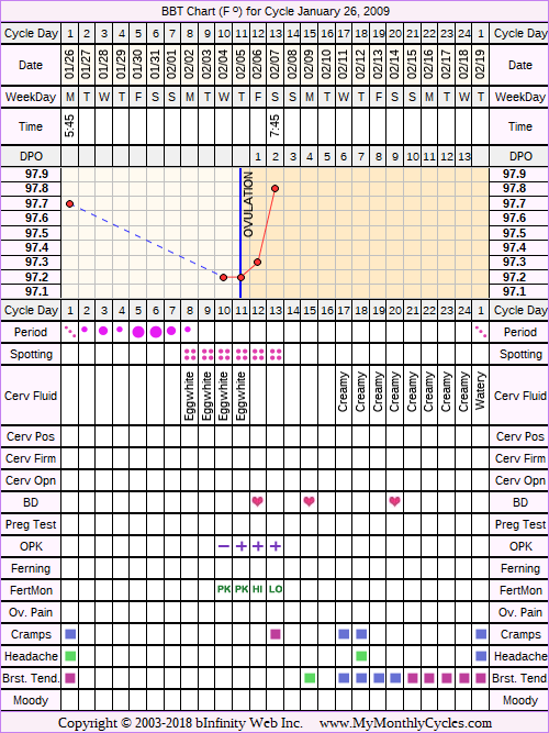 Fertility Chart for cycle Jan 26, 2009, chart owner tags: BFN (Not Pregnant), Fertility Monitor, Herbal Fertility Supplement, Ovulation Prediction Kits, Uterine Fibroids