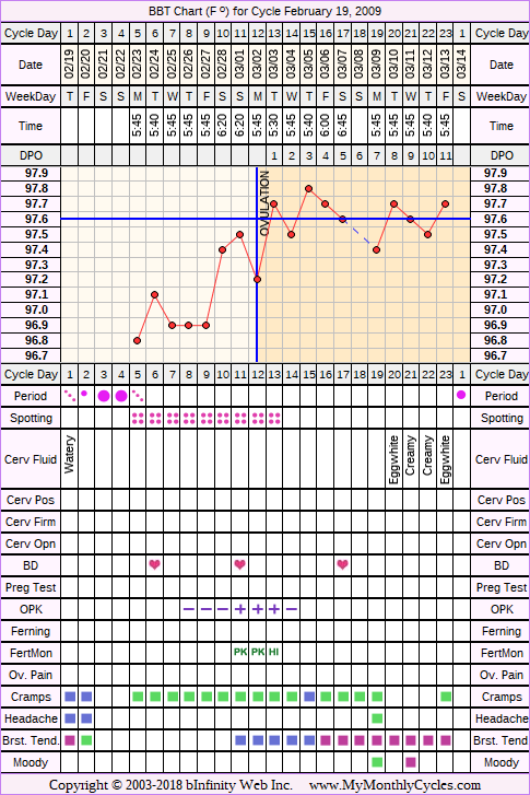 Fertility Chart for cycle Feb 19, 2009, chart owner tags: BFN (Not Pregnant), Fertility Monitor, Herbal Fertility Supplement, Ovulation Prediction Kits, Uterine Fibroids