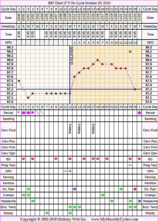 Fertility Chart for cycle Oct 30, 2010, chart owner tags: BFN (Not Pregnant), Biphasic