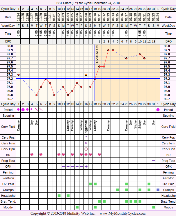 Fertility Chart for cycle Dec 24, 2010, chart owner tags: Biphasic