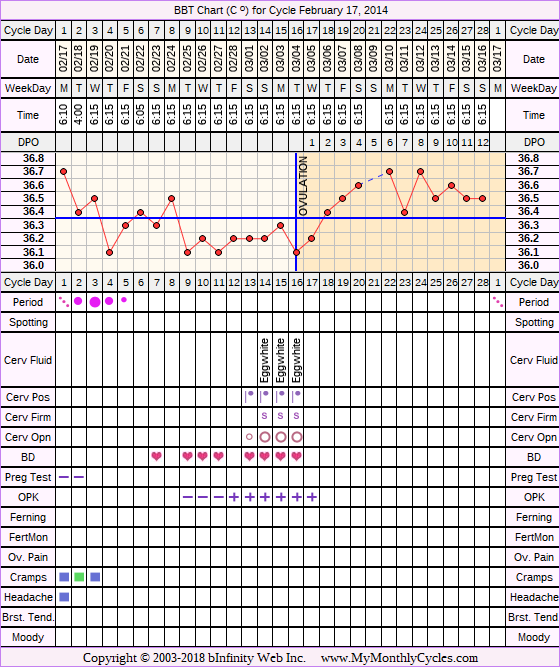 BBT Chart for cycle Feb 17, 2014