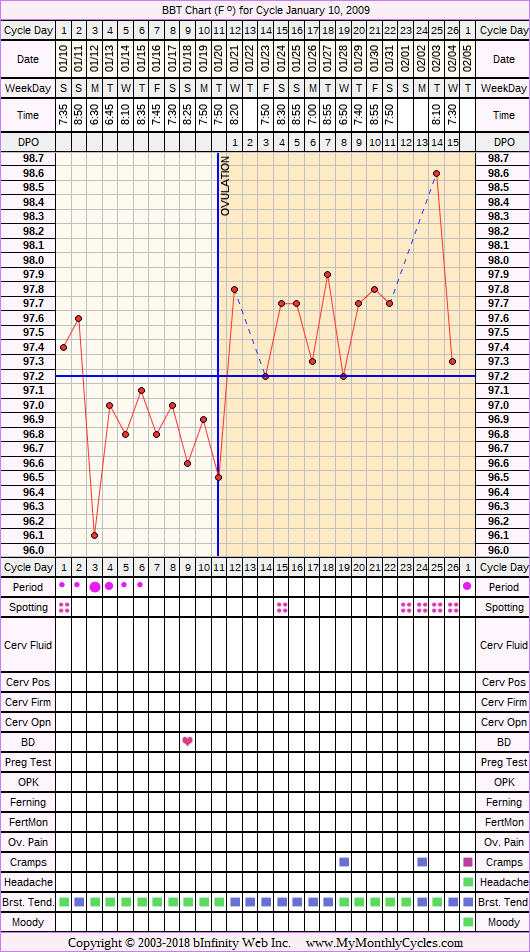 Fertility Chart for cycle Jan 10, 2009, chart owner tags: BFN (Not Pregnant)