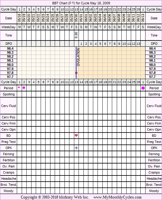 Fertility Chart for cycle May 18, 2009