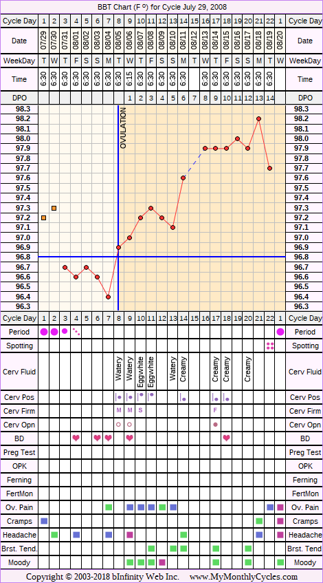 Fertility Chart for cycle Jul 29, 2008, chart owner tags: BFN (Not Pregnant), Miscarriage