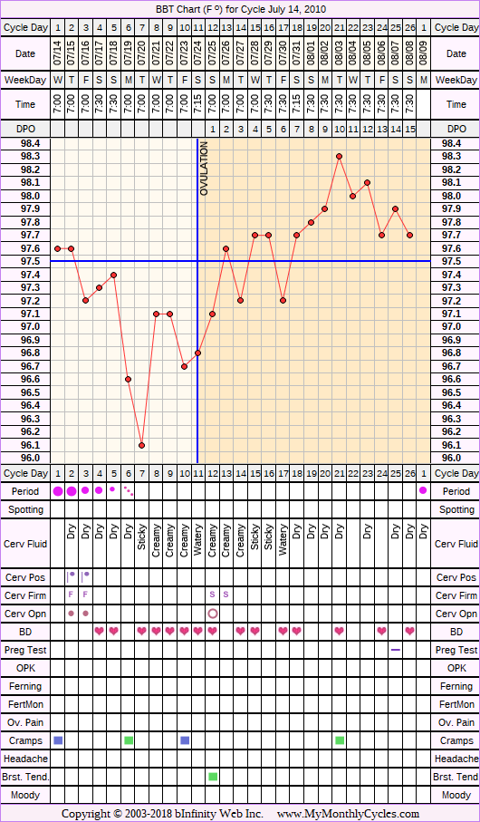 Fertility Chart for cycle Jul 14, 2010, chart owner tags: BFN (Not Pregnant)